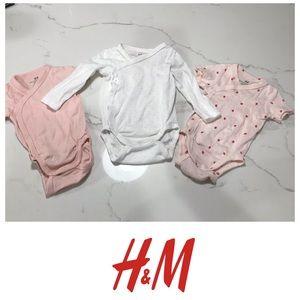 NWOT baby girl H&M onesies long short sleeve
